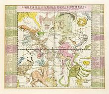 Himmelskarte 'Globi coelestis in tabulas planas redacti pars V', altkol. Kupferstich, bei Homann in Nürnberg um 1720, 49 x 58 cm, hinter Glas u. Pp. ger. 67 x 76 cm