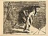 Ernst Barlach, Verlorenes Licht II, Lithographie, aus der Serie Der Arme Vetter, unsign., auf cremefarbenem Velin, Blattmaße 34,5 x 48,5 cm, fliegend hinter Pp. 47 x 65 cm, Ernst Barlach, €80