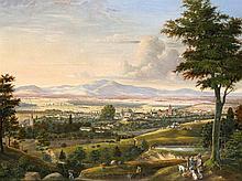 Anonymer Landschaftsmaler 1. H. 19. Jh., Panorama einer Stadt mit Jägern im Vordergr., Öl/Lwd., unsign., rest. u. retusch., 48 x 61 cm, ger. 54 x 70 cm