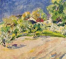 Anonymer Impressionist 1. H. 20. Jh., sommerliches Gartenstück, Öl/Lwd., unsign., leicht gewellt da auf neuen Keilrahmen aufgezogen, leichte Beschabungem im Himmel, 54 x 58 cm, ger. 58 x 63 cm