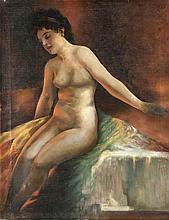 Anonymer Maler um 1920, weibl. Akt, Öl/Lwd., unsign., 67 x 86 cm