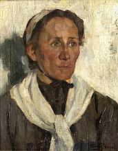 Ludwig Voss (1881-?), 'Vlämische Frau', Brustbildnis, Öl/Lwd., u. re. sign., verso auf altem Etikett handschrftl. bez., 47 x 39 cm, ger. 61 x 52 cm