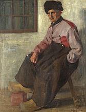 Ludwig Voss (1881-?), 'Holländischer Fischer', Öl/Lwd., u. re. sign., verso auf altem Etikett handschrftl. bez., kleine Blessur, 51 x 63 cm, ger. 75 x 62 cm