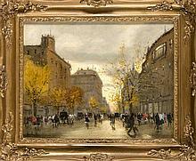 Antal Berkes (1874-1938), ungarischer Maler, Strassenszene im Herbst mit reicher Staffage im Stile Lesser Urys, Öl/Lwd., u. li. sign., 40 x 50 cm, ger. 54 x 66 cm