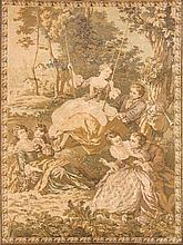 Gobelin 'Die Schaukel', 20. Jh., nach einem Rokokomotiv frei nach Jean-Baptiste Joseph Pater, verso bestickt 'Meade in France', 190 x 125 cm