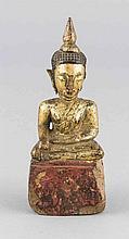 Buddha, Holz, wohl Thailand, patiell verg., best., H. 14 cm