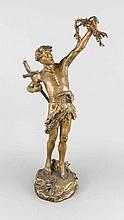 Paul Lemoine St-Paul Lemoyne (1784-1873), frz. Bildhauer, junger Krieger mit Schwert u. Olivenzweigen, patinierter Bronzeguss, im naturalistischen Sockel sign., bez. 'Victoria!' u. num. '8240', H. 71 cm