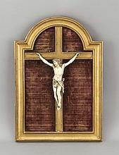 Wandkruzifix, um 1900, Holzkreuz, Corpus Christi, Bein, im rechteckigen Rahmen oben abgerundet, Gesamtmaße 41 x 28 cm