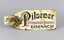 Altes Werbeschild, um 1900, 'Pilsener der Petersberger Brauerei - Eisenach', lithographierte Dekor, beschnitten und stark besch., L. 44 cm