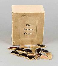 Altes Puzzle-Spiel, 'The Society Puzzle', Motiv 'Teasing', Berkshire Novelty Company, South Lee, Massachusetts, um 1907, 240 Teile, 42 x 27 cm, in OK 14 x 12 x 8 cm