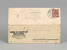 Graf von Zeppelin, Autograph auf typographischer Karte von 1946, mit welcher er einer Frau Wilke die erfreuliche Nachricht überbringt, dass es ihrem Gatten, den er selbst in der Gefangenschaft kennenlernte, gut geht, eigenhändig sign.,14,5 x 10 cm