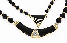 Onyx-Diamant-Colliers mit Karabiner und Zwischente