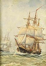 Marinemaler um 1900 zwei Dreimaster auf hoher See