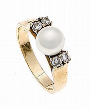 Akoya-Brillant-Ring GG/WG 585/000 mit einer feinen