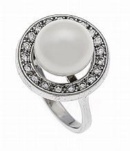 Zuchtperlen-Brillant-Ring WG 585/000 mit einer Zuc