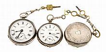 Konvolut 3 Herrentaschenuhren mit Schlüsselaufzug