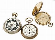 Konvolut 3 Herrentaschenuhren Silber vergoldet mi