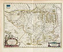 Historische Landkarte der Oberlausitz teilkol. Ku