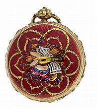 Email-Spindeltaschenuhr Messing vergoldet Uhrmach