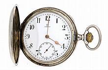 Omega Herrensprungdeckeltaschenuhr Silber weißes