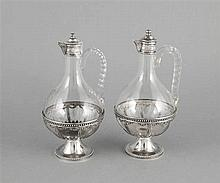 Paar Karaffen mit Silbermontage Frankreich um 19