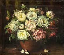 Blumenmaler des 19. Jh. großer Pfingstrosenstraus
