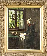 Dt. Genremaler um 1900 Mütterchen beim Nähen Öl/