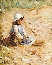 H. Richter 2. H. 20. Jh. kleines Mädchen mit Kor