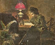 Anonymer Maler 1. H. 20. Jh. Ölskizze einer Dame