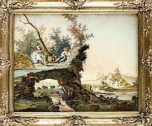 Augsburger Hinterglasbild 18. Jh. Hirtenpaar mit
