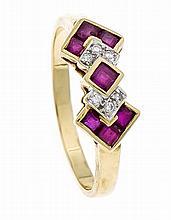 Rubin-Brillant-Ring GG/WG 750/000 mit fac. Rubinca
