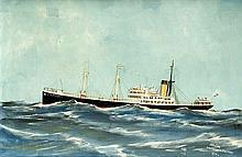 Kapitänsbild Mitte 20. Jh. Schiffsportrait der 'H