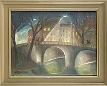 Berliner Maler Mitte 20. Jh. nächtliche Straßensz