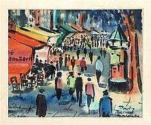 W. Rahn (?) Marktreiben auf dem Montmartre in Par
