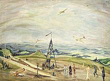 Unidentifizierter Maler um 1930 'Flugtag auf der