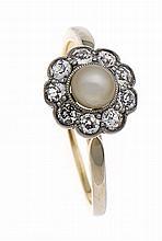 Altschliff-Diamant-Zuchtperlen-Ring GG/WG 585/000