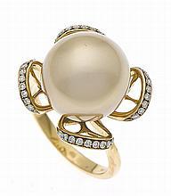Südsee-Brillant-Ring GG 750/000 mit einer excellen