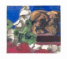 Emil Nolde (1867-1956) Blumenstillleben mit figür