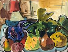 Rudolf Bredow (1909-1973) Stillleben mit Obst Aq