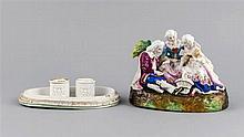 Figürliches Tinten-Set Thüringen um 1900 Deckel