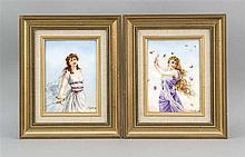 Zwei Bildplatten Ende 19. Jh. polychrom gemalt