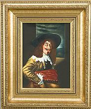 Bildplatte 20. Jh. Musketier vor einem Fenster