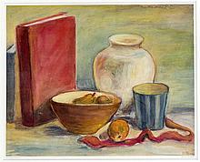Monogrammist M.G, Mitte 20. Jh., Stillleben mit Obst und Büchern, Aquarell/