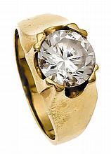 Ring GG 585/000 mit weißem fac. Stein, RG 56, 7,6 g