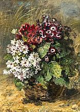 Anna Peters (1843-1926), Blumenkorb. Öl/Leinwand, links unten signiert. Ver
