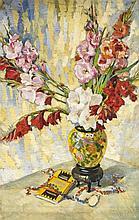 Anonymer Maler um 1920, großes Blumenstillleben mit Gladiolen in japanische