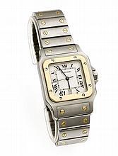 Cartier Herrenarmbanduhr Santos Galbee Stahl/GG 750/000 Quartz, mit Datum u