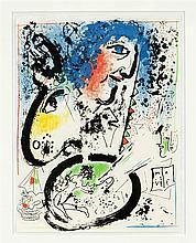 Marc Chagall (1887-1985), Farblithographie 'Ma Vie', Selbstportrait mit gel