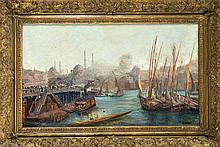 H. Guibert, Orientalist um 1900, Hafen in Konstantinopel mit der Hagia Soph