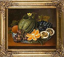 Anonymer Maler des 19. Jh., Stillleben mit Kürbis und Trauben, Öl/Lwd., uns
